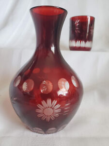 Bedside Carafe w/ Matching Tumbler Cranberry/Ruby Red Etched Glass