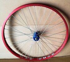"""Sun Rims 26"""" Pre-Sun Ringle 36 H Presta laced to BLUE TSALI front hub RED disc"""