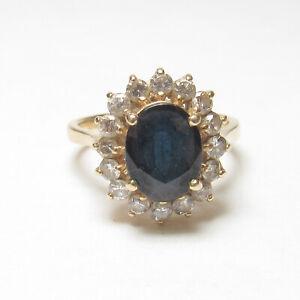 BH EFFY 14K Yellow Gold 2.35 Ct Natural Dark Blue Sapphire And Diamond Halo Ring