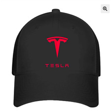 Tesla Auto Logo on Black Hat Flexfit Baseball Cap Printed Red Emblem S/M