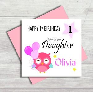 Personalised Card 1st First Birthday Baby Daughter Granddaughter Niece Owl Cute