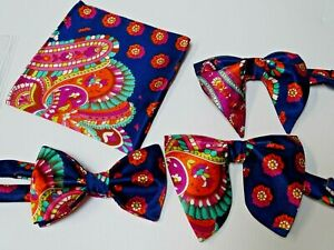 Handmade Mens Satin Bow Tie Handkerchief Navy Floral Wedding Prom Gift 4 Him