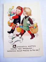 Precious Mabel Lucie Attwell Postcard w/ Girls Friends Shopping Artist signed *