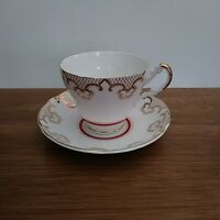 Vintage Regency Gold Red White Bone China Teacup & Saucer made in England