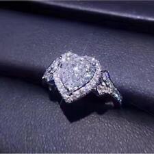 Ring 14K White Gold Over 1.50Ct Heart-Cut Vvs1/Diamond Halo Engagement