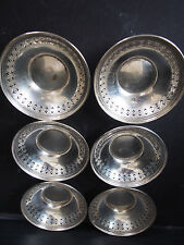 """Set of 6 Weidlich Sterling Pierced Finger Bowl Candy Nut Dish Plate 182gr 3.5"""""""