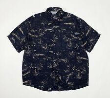 Severi camicia uomo usato XXL manica corta estiva nera leggera shirt used T5413