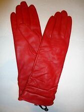 """Ladies Top Quality Ruched Cuffs 12"""" Genuine Leather Gloves,Medium, Red"""