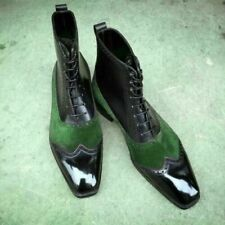 New Handmade Pure Green Suede & Black Leather Ankle Boots for Men's