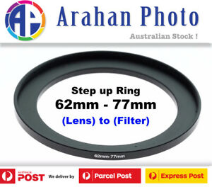 Step Up Ring 62-77mm Filter Lens Adapter 62mm Filter to 77mm Lens