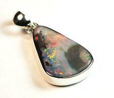 Australian Queensland Boulder Opal Silver 925 Pendant multi colour