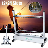 Portable Fishing 12/24 Rod Rack Pole Holder Aluminum Alloy Stand Storage Tool