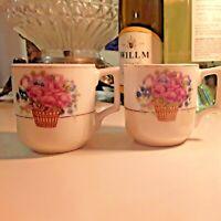 (2) Vintage Demitasse Occupied Japan Floral Basket White Mid Century Espresso