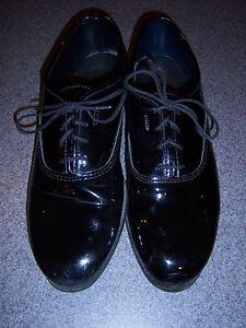 MEN'S BLACK TUXEDO DRESS SHOES - faux patent leather oxford - Classic styling
