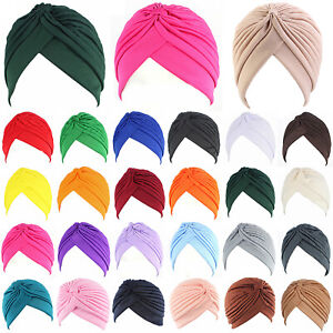 Women Muslim Turban Hat Indian Pleated Chemo Cancer Head Scarf Wrap Cap Headwear