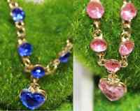 SILVER TONE PINK OR ROYAL BLUE HEART FACETED ACRYLIC CRYSTAL PARTY BRACELET