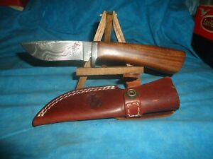"CUSTOM  DAMASCUS  HUNTING / SKINNING KNIFE 8"" WITH SHEATH NEAR MINT KNIVES RANCH"