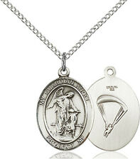 925 Sterling Silver Guardian Angel Paratrooper Military Catholic Medal Necklace