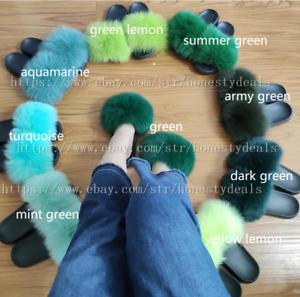 Green - Real Fox Fur Slides Beach Slippers Summer Shoes Fur Sandals