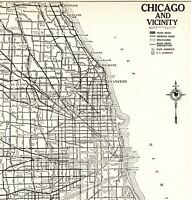 1939 Antique CHICAGO Illinois Street Map Original City Map of Chicago  7951