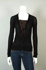 CLU :: M :: Black Small Ribbed Button Down Henley Knit Jersey Blouse Top