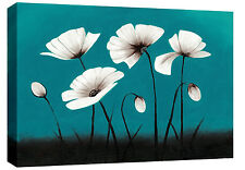 Extra Large Teal White Canvas Floral Flower Wall Art Picture 113 x 80 cm A0