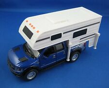 KINSMART - 2013 FORD F-150 SVT RAPTOR SUPERCREW WITH CAMPER 1:46 Blue Pull Back