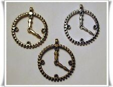 Mixed Color Lot of 30 CLOCK Charms 30mm SILVER GOLD BRASS ~Great for SteamPunk !