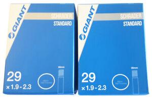 """2 x Giant 29"""" x 1.9 - 2.3 Schrader Valve Bike Tube 35mm Car Valve 29er MTB"""