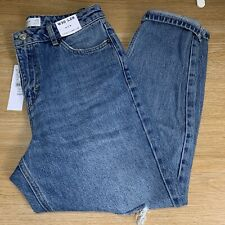 BNWT Topshop Mid Blue Ripped Mom Jeans - W30 L28 - UK 12 Petite
