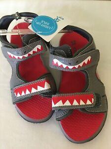 New carter's Boy Shark Sandals Shoes Light up gray
