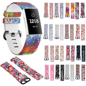 Fitbit Charge 3 Replacement Floral Sport Strap Silicone Wrist Watch Band Fit Bit