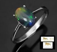 1.67 ct BLACK OPAL STERLING SILVER RING