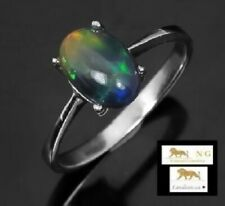 1.67 ct NATURAL BLACK OPAL STERLING SILVER RING