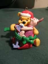 Disney Christmas Ornament Santa Pooh with Piglet on a rocking horse!