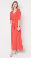 Attitudes by Renee Petite Solid Maxi Dress -Tomato - PM