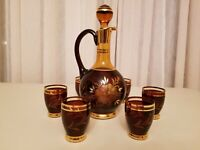 VTG Bohemia Czechoslovakia Crystal AMBER/RED/GOLD Set DECANTER & 6 CORDIALS