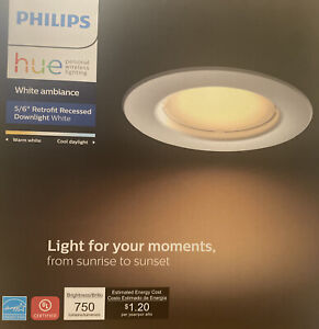 "Philips Hue 801506 White Ambiance LED Smart Retrofit 5/6"" Recessed Downlight NOB"