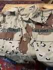 US Army Desert Camo Coat Jacket Top Patches Small Short long sleeve
