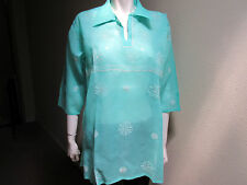 New India Chikan 100% Cotton Ethnic Kurta Kurti Collar Women Ladies Green Top