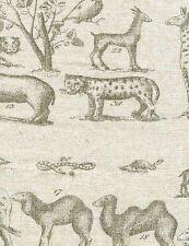 Andrew Martin- Animal Themed Print Upholstery Fabric- Jungle/Linen- 5.50 yds