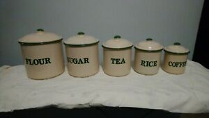 Vintage Kitchen Canisters..Enameled Green 50s Style..