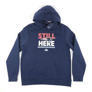 New England Patriots Super Bowl LIII 53 Still Here Fanatics XL Hoodie Sweatshirt