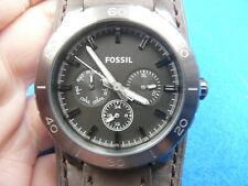 New Old Stock 43MM FOSSIL BQ1055 Daydate Leather Strap Quartz Men Watch
