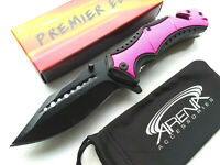 Pink Spring Assisted Pocket Knife Blade Womens Girls Ladies Rescue Glass Breaker