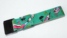 Textile strap to fit Swatch Pop watch Green with school theme design 25mm #PS12