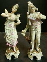 Vintage Set of (2) Arnart Victorian Porcelain Bisque Figurines Marked 6618 Excel