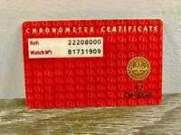 Auth Omega Chronometer Verificate Cards.