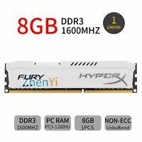 8Go DDR3 PC3-12800U 1600MHz CL11 bureau 1.5V blanc DIMM RAM pour HyperX FURY FR