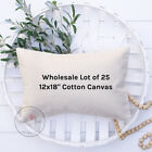 Wholesale Blank Pillow Cover | 12x18 10 oz Soft Cotton Canvas | Lot of 25 Blanks